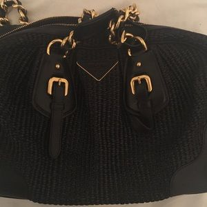 Prada woven straw purse